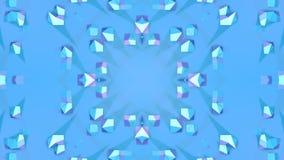 Fondo abstracto geométrico polivinílico bajo azul como vitral móvil o caleidoscopio en 4k Animación del lazo 3d, inconsútil metrajes