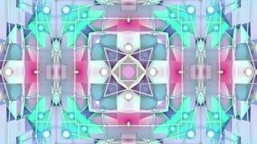 Fondo abstracto geométrico polivinílico bajo azul como vitral móvil o caleidoscopio en 4k Animación del lazo 3d, inconsútil almacen de metraje de vídeo