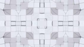 Fondo abstracto geométrico polivinílico bajo blanco como un vitral o efecto móvil del caleidoscopio en 4k Animación del lazo 3d almacen de metraje de vídeo