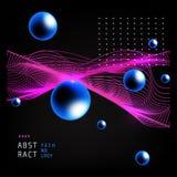 Fondo abstracto hermoso de la onda con las esferas azules Fotografía de archivo libre de regalías