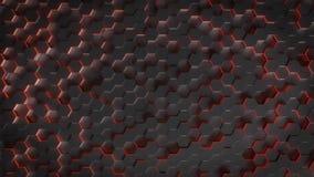 Fondo abstracto inconsútil de la geometría del hexágono del fondo hexagonal futurista Iluminación oscura Secuencia de Loopable stock de ilustración