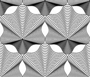 Fondo abstracto monocromático del vector adornado con las líneas negras S Foto de archivo libre de regalías
