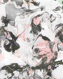 Fondo abstracto negro, blanco y rosado pintado a mano stock de ilustración