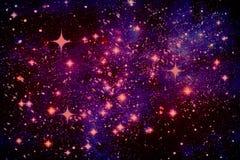 Fondo abstracto púrpura, cielo estrellado, espacio exterior Ejemplo, espacio de la copia stock de ilustración