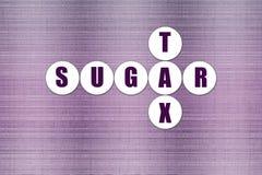 Fondo abstracto púrpura con Sugar Tax Concept imagen de archivo libre de regalías