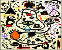 Fondo abstracto, pintor del francés del ` de Miro del estilo Fotos de archivo