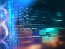 Fondo abstracto programado de la tecnología del código del analista de programas informáticos  Foto de archivo
