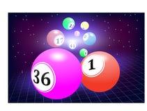Fondo abstracto que las bolas de la lotería vuelan de lejos con velocidad, un fondo estrellado oscuro, malla libre illustration