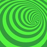 Fondo abstracto rayado del túnel del espiral verde Foto de archivo