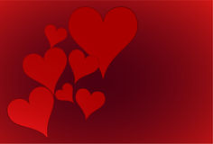 Fondo abstracto rojo con los corazones Imagen de archivo