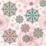 Fondo abstracto rosado con los elementos decorativos stock de ilustración