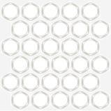 Fondo abstracto simétrico Hexágonos blancos con las sombras grises, círculos blancos en gris claro Imagenes de archivo