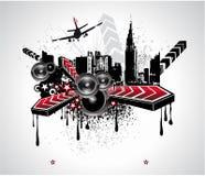Fondo abstracto urbano de la música del disco Imagenes de archivo