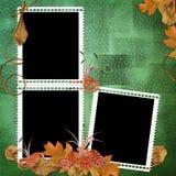 Fondo abstracto verde con los marcos y las flores Foto de archivo libre de regalías