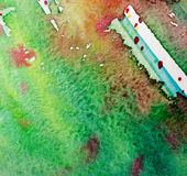 Fondo abstracto verde y rojo de la acuarela Imágenes de archivo libres de regalías