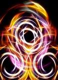 Fondo abstracto y círculo amarillo, concepto del fuego Imagen de archivo libre de regalías