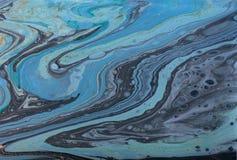 Fondo acrilico astratto di marmo Struttura di marmorizzazione blu del materiale illustrativo immagini stock