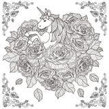 Fondo adorable del unicornio y de las rosas stock de ilustración