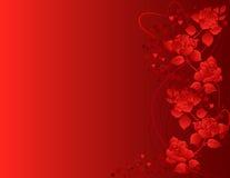 Fondo adornado con las rosas y las dimensiones de una variable del corazón. stock de ilustración