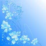 Fondo adornado con las rosas y las dimensiones de una variable del corazón. libre illustration