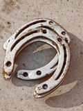 Fondo afortunado de las herraduras Fotografía de archivo