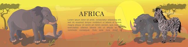 Fondo africano degli animali del fumetto illustrazione di stock
