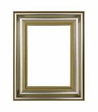 Fondo aislado vintage de madera del marco del oro Imagenes de archivo