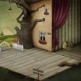 Fondo al cuarto y al árbol libre illustration
