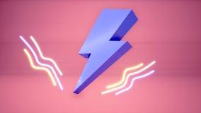 fondo al neon del bullone di fulmine 3D illustrazione di stock