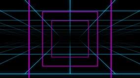 Fondo al neon del ciclo del quadrato della griglia