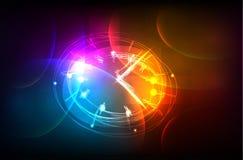 Fondo al neon dell'orologio Fotografia Stock Libera da Diritti