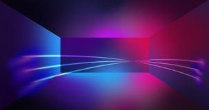 Fondo al neon della parete, linee d'ardore, luci al neon Fotografia Stock