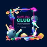 Fondo al neon di bowling di vettore Pagina con le palle da bowling 3d ed i perni multicolori su fondo nero royalty illustrazione gratis
