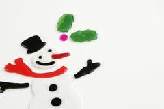 Fondo alegre del muñeco de nieve Imagen de archivo