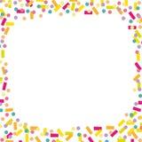 Fondo alegre y colorido del confeti y de las flámulas ilustración del vector