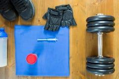 Fondo all'allenamento di forma fisica e verniciare in, con un posto per scrivere Immagini Stock