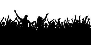 Fondo allegro della siluetta della folla La gente del partito, applaude Concerto di ballo di fan, discoteca royalty illustrazione gratis