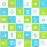Fondo allineato senza cuciture di sanità e medico delle icone Fotografie Stock