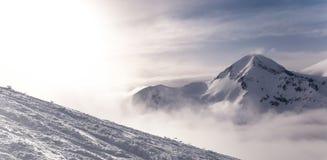 Fondo alpino del snowpeak del invierno con el terreno ountainous y la textura nevada de los árboles Bansko, Bulgaria fotografía de archivo libre de regalías