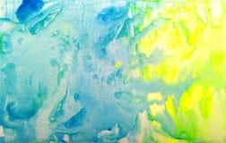 Fondo amarillo azul de la acuarela de la textura del grunge Manchas art?sticas del watercolour de la pintura foto de archivo libre de regalías