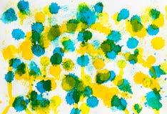 Fondo amarillo azul del extracto de la mezcla de la acuarela Imágenes de archivo libres de regalías