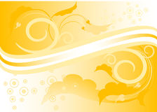 Fondo amarillo con las hojas. Imagenes de archivo