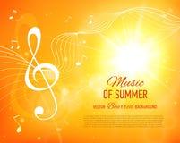 Fondo amarillo con las notas y llave de la música flama ilustración del vector