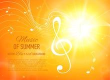 Fondo amarillo con las notas y llave de la música flama libre illustration