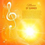 Fondo amarillo con las notas y llave de la música flama stock de ilustración