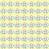 Fondo amarillo con pequeños ángeles felices en pañales libre illustration