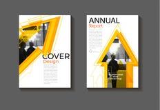 Fondo amarillo d moderna del extracto de la disposición de la cubierta del folleto de la flecha Fotografía de archivo libre de regalías