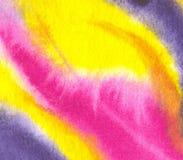 Fondo amarillo de la acuarela con el modelo y la textura abstractos stock de ilustración