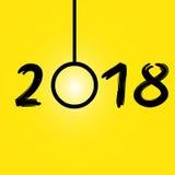 Fondo amarillo de la Feliz Año Nuevo 2018, acción Imágenes de archivo libres de regalías