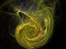 Fondo amarillo de la luz del efecto del fractal del extracto del círculo Foto de archivo libre de regalías